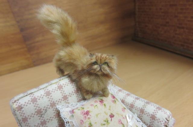 OOAK 1:12 handmade miniature Persian cat (peke face)