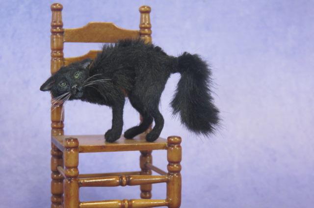 OOAK Handmade Miniature Witch's Cat 1:12 scale