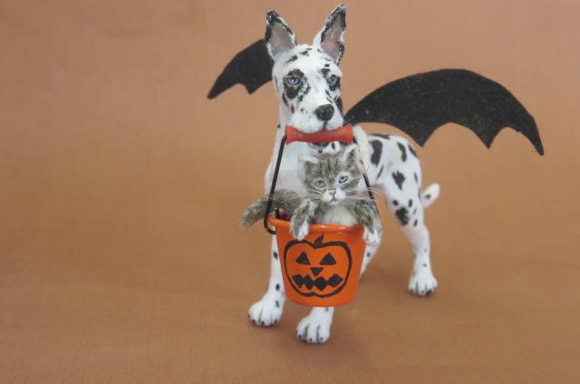 Halloween Miniature Great Dane Dog and Kitty 1:12 scale