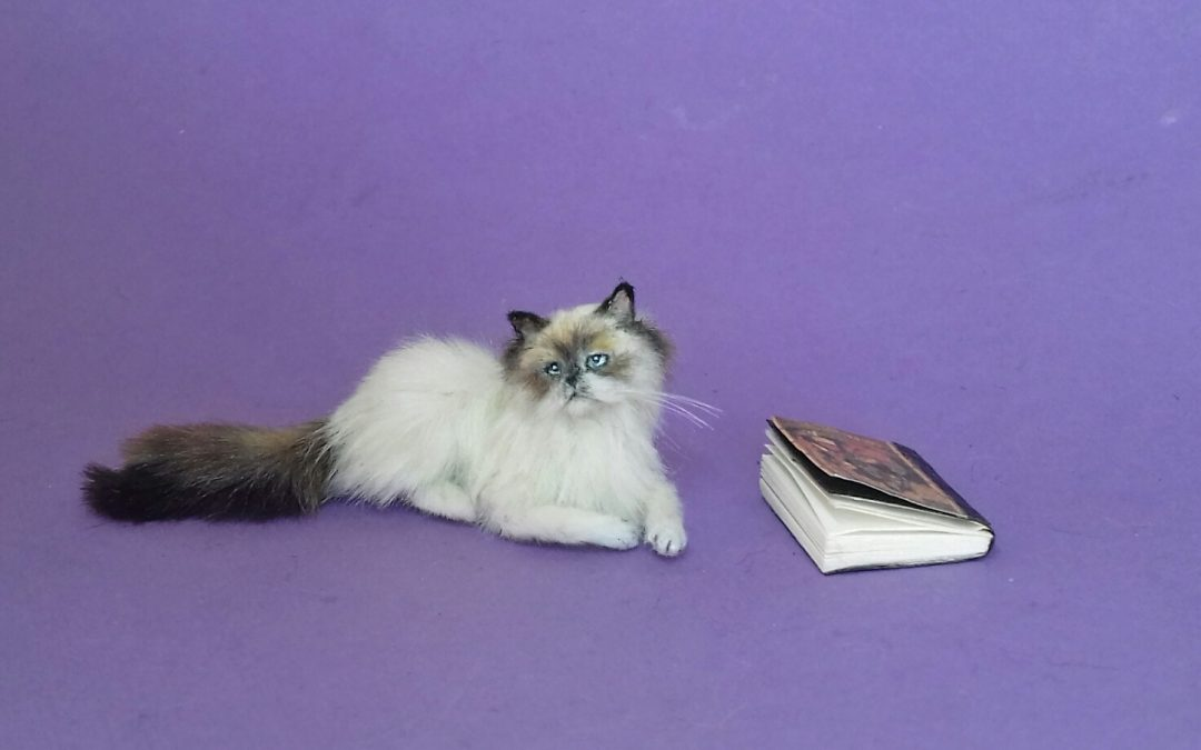 1:12 scale miniature Persian cat