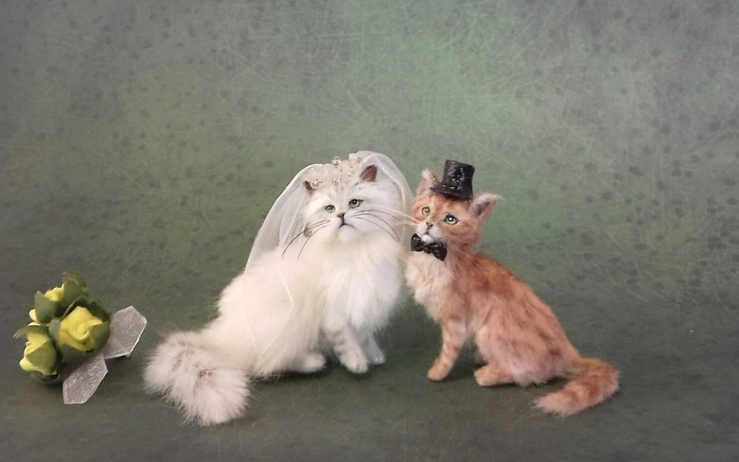 1:12 scale Bride & Groom Cats